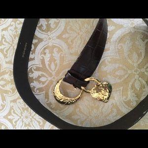 Vintage & rare YSL  Gold Heart BrownLeather Belt